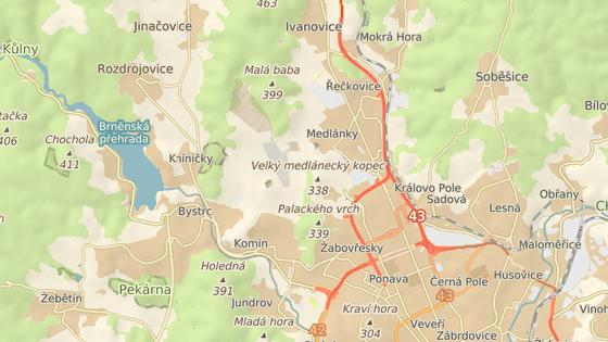 Vyústění silnice v Bystrci a Medlánkách značí červené body.