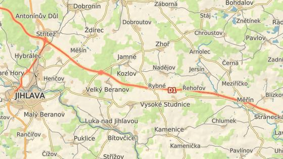 Nehoda se stala na 121. kilometru D1 ve směru na Prahu poblíž vesničky Kozlov.