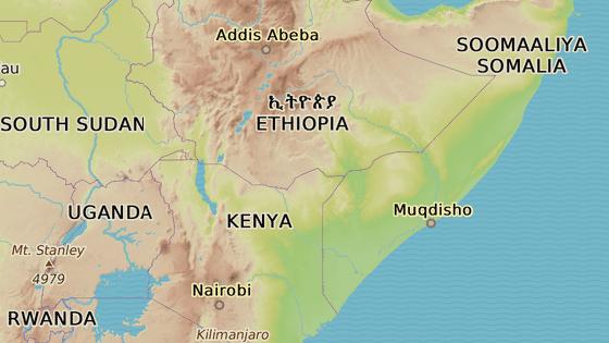 Letadlo spadlo jižně od hlavního města Addis Abeba v Etiopii, cílem cesty bylo keňské Nairobi (modrá)