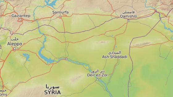 Rakká, Sýrie (červená značka), Dajr az-Zaur (modrá značka)
