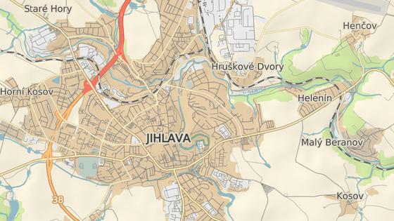 Z Brněnského mostu (červený bod) se téměř všechen provoz přesune do Okružní ulice (modrý).