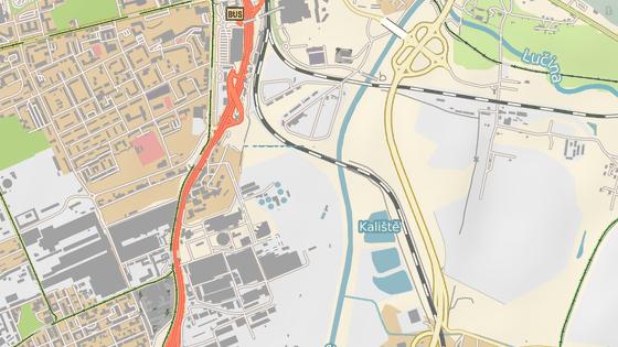 Pohled na Dolní oblast Vítkovice. Modrá značka: plocha před hlavní scénou Colours. Červená značka: plocha před druhou scénou Colours. Zelená značka: místo plánované lávky pro pěší a cyklisty. Oranžová značka: místo možné okružní křižovatky Ruská-Místecká.