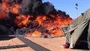 Hořící stan na Kypru