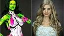 Kay Pike (vpravo bez make-upu) ze sebe dokáže pomocí barev udělat třeba...