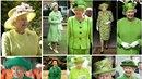 Královna Alžběta II. v zelené.