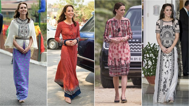 Vévodkyně Kate opět zabodovala. V Asii předvedla kolekci parádních  tradičních. aa5a5fc9fdf