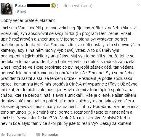 Petra K. se svěřila na Facebooku.