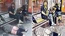 Z nechutné fotky opilých bezdomovců z nichž jeden přebral natolik, že na zemi...