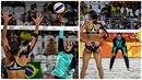 Zápas ve volejbalu mezi egyptskými a německými plážovými volejbalistkami zaujal.