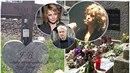 U pomníku Ivety Bartošové se objevila lahev vína s květinami. Připomíná to hrob...