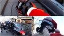 Santa naháněl řidiče v ulicích Paříže.
