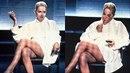 Slavná scéna ze Základního instinktu - Sharon si přehodí nohu přes nohu a ukáže...