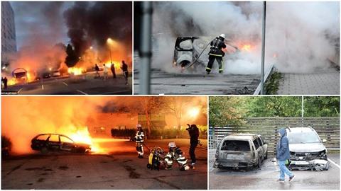 Několik švédských měst zachvátily nepokoje. Původ útočníků známý není.