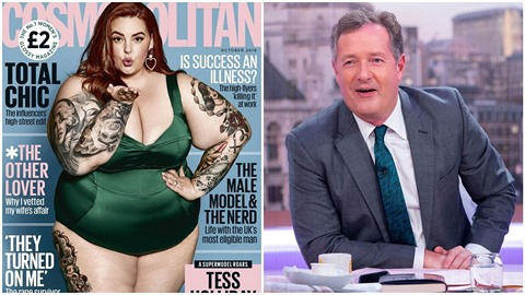 Moderátor Piers Morgan kritizuje morbidní obezitu XXL modelky Tess Holliday.