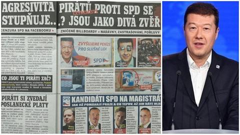 """Předvolební listy SPD """"Na vlastní oči"""" si vzali na paškál Pirátskou stranu...."""