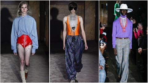 Módní návrhář Alessandro Michele odhalil pánskou módní kolekci Gucci pro jaro a...