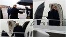 Donald Trump měl problém se složením deštníku.