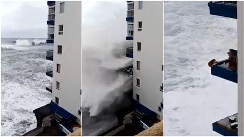 Obrovské vlny na Tenerife ničí hotely a lámou celé balkóny.