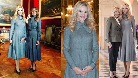 Monika Babišová v Paříži s Brigitte Macron a Melanií Trump.