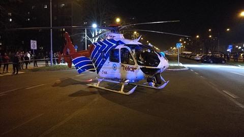 Vrtulník letecké záchranky na severní Moravě