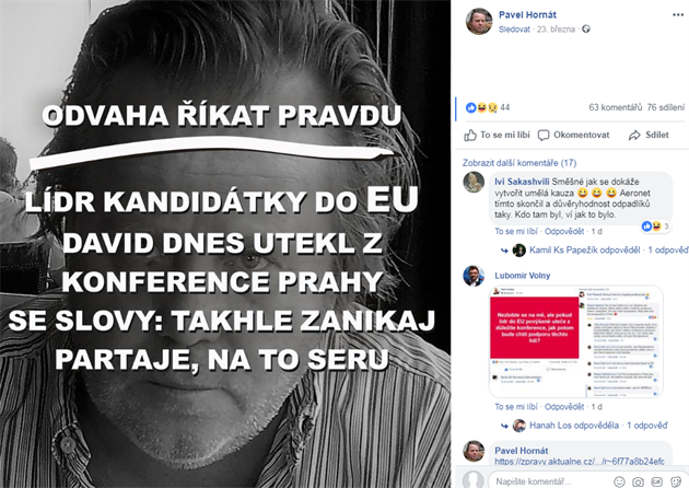 Pavel Hornát na Facebooku promluvil o incidentu z konference SPD.
