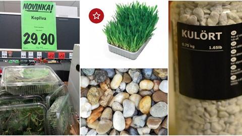 Kopřivy, kamení, tráva, to všechno si můžete zakoupit v českých obchodních...