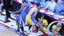 Dva basketbalisti během hry zalehli roztleskávačku