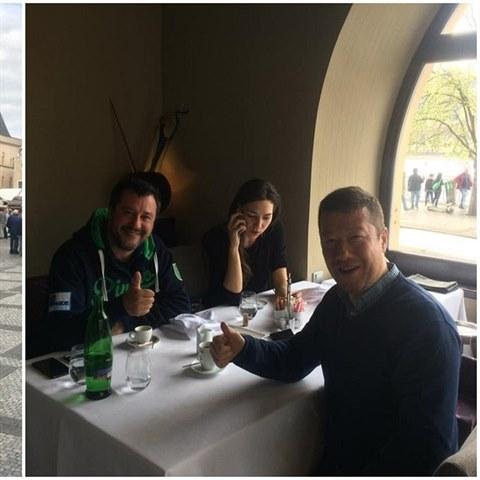 Tomio Okamura v Praze přivítal Mattea Salviniho a jeho přítelkyni.