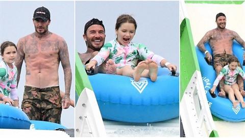 Beckhamovi vyrazili na dovču. David si užíval s dětmi v akvaparku.