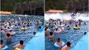Vlna tsunami pěkně vyděsila lidi v Aquaparku.