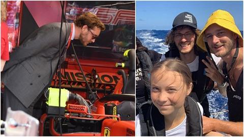 Monacký princ Pierre Casiraghi se s Gretou Thunberg plaví na ekologické jachtě....