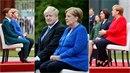 Angela Merkelová na tom zjevně stále není dobře. Při hymně stále musí sedět!