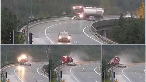 Ve Slovinsku auto sestřelilo náklaďák z mostu.
