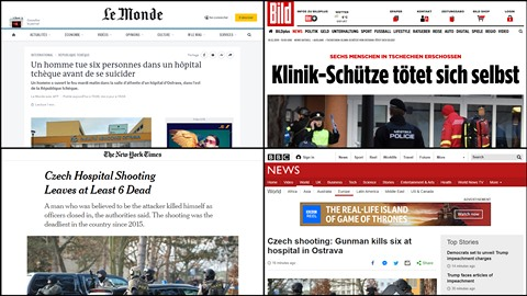 Zahraniční média informovala o střelbě v Ostravě.