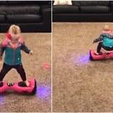 Dítě si to pěkně dávalo na hoverboardu.