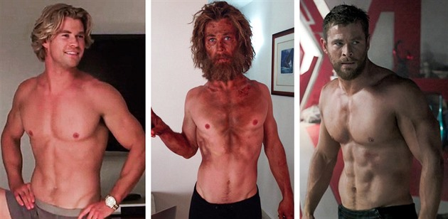 Chris Hemsworth, -15kg a +19kg