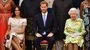 Bývalá televizní herečka Meghan Markle, princ Harry a královna Alžběta