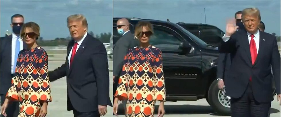 Donald Trump a Melania po příletu do Palm Beach