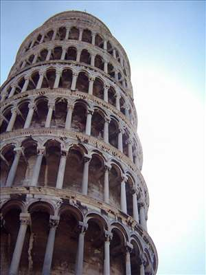The leaning tower of Pisa leans to the right some 5.5 degrees off center