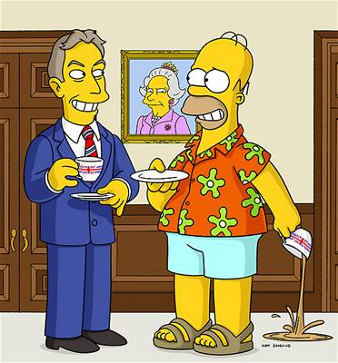Simpsonovi - Homer a Tony Blair