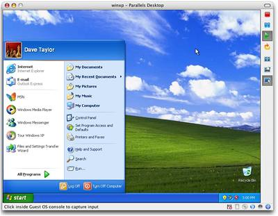 Parallels desktop s Win XP