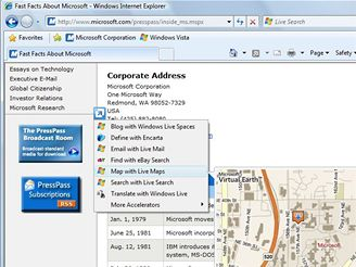 IE8 beta 2: Accelerators - mapa