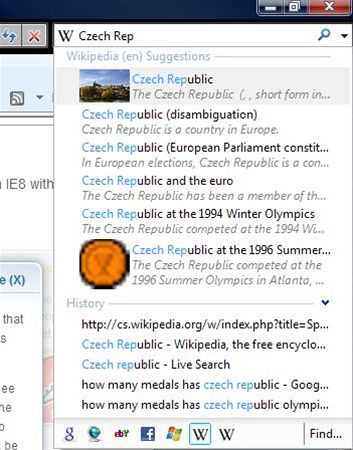 IE8 beta 2: Visual Search Wikipedia (en)