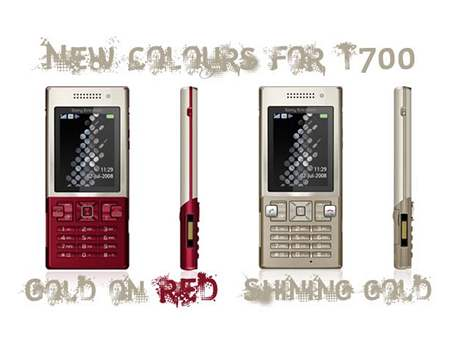 Sony Ericsson T700 Gold on Red a Shining Gold