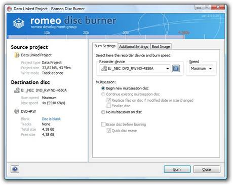 Romeo Disc Burner