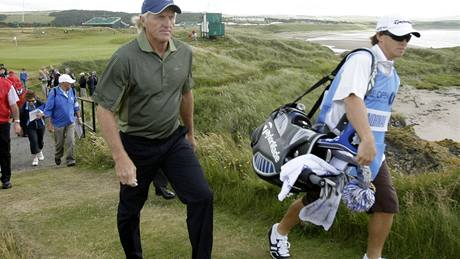 Greg Norman na British Open 2009, trénink.