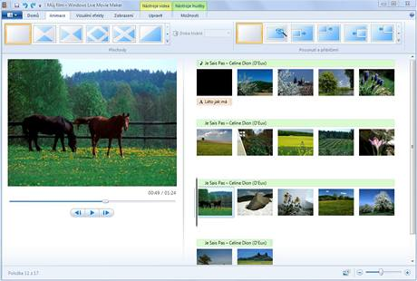 Windows Live Movie Maker - přechody