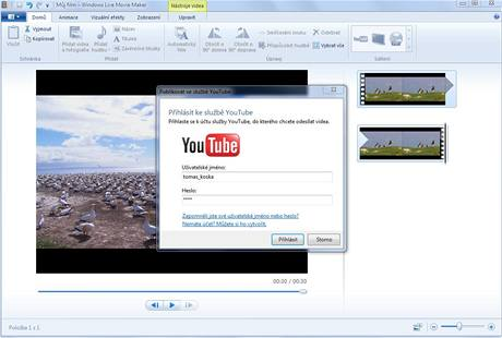 Windows Live Movie Maker - upload na YouTube