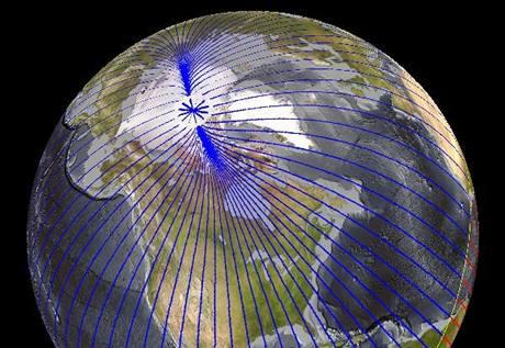 Posun severního magnetického pólu (30. 12. 2009)