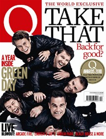 Jason Orange, Howard Donald, Robbie Williams, Mark Owen a Gary Barlow na obálce prosincového magazínu Q